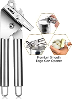 Can Opener, Food Grade Stainless Steel 3-IN-1 Safety Kitchen Can Opener Manual Smooth Edge Heavy Duty with Ultra Sharp Cutting Wheel Easy-to-Turn Knob Ergonomic Non-slip Grips Built-in Bottle Opener