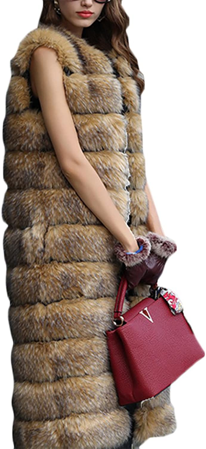 GAGA Women's Classic Sleeveless Faux Fur Slim Fit Opens Front Long Vest
