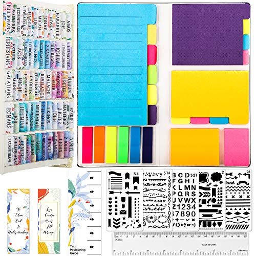 Bible Journaling Kit, Colorful Floral Bible Tabs/ Blank Sticky Index Tabs/ Divider Self-Stick Sticky Notes Pads/ Bible Bookmark/ 5 Bible Stencils/ Bible Ruler, Bible Study Kit Christian Gifts Supplies