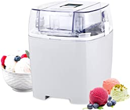 Costway Ice Cream Maker 1.6 Quart Automatic Macarons Color Ice Cream Machine, custard Frozen Yogurt Sorbet Gelato Machine with Auto Shut Off Timer, LCD Display and Mixing Paddle for Soft Serve Dessert (White)