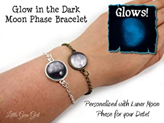 Custom Glow in the Dark Birth Moon Bracelet in Silver or Bronze - Personalized Birthday Glowing Moon Phase Charm Bracelet