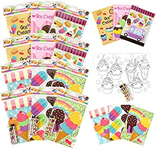 Tiny Mills Ice Cream Coloring Books with Crayons Party Favors with 12 Coloring Books and 48 Crayons, Ice Cream Party Favor...