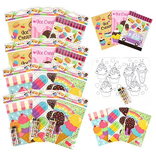 Tiny Mills Ice Cream Coloring Books with Crayons Party Favors with 12 Coloring Books and 48 Crayons, Ice Cream Party Favors, Favor Bag Filler, Carnival Giveaways