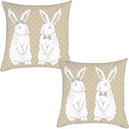 Vintage Bunnies Linen Blend Cushion Cover Pillow Cover 16