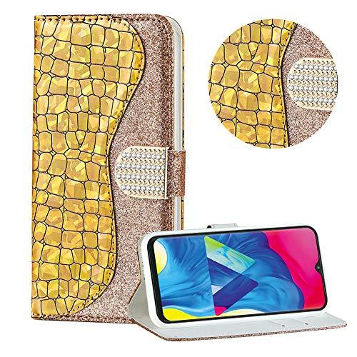 Diamant Brieftasche Hülle für Galaxy A10/M10,Gold Wallet Handyhülle für Galaxy A10/M10,Moiky Ultra Dünn Stilvoll Laser Glitzer Farbe Block Klappbar Stand Silikon Handytasche