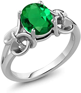 Gem Stone King 925 Sterling Silver Green Simulated Emerald Women Ring (1.50 Ct Oval 9X7MM, Available 5,6,7,8,9)