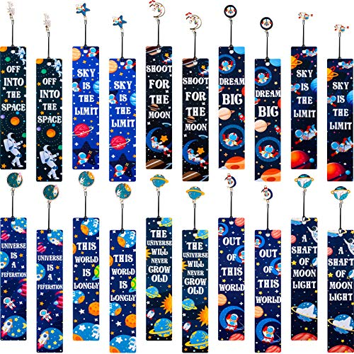 20 Pieces Space Theme Inspirational Quotes Bookmarks with Metal Charms School Classroom Prize Reading Party Favors Presents for Kids Boys Girls Adults