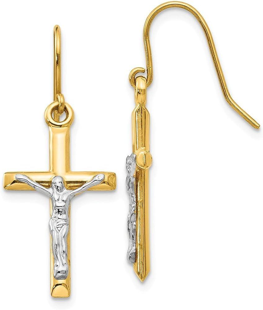 14k Two Tone Yellow Gold Crucifix Cross Religious Drop Dangle Chandelier Earrings Fine Jewelry For Women Gifts For Her