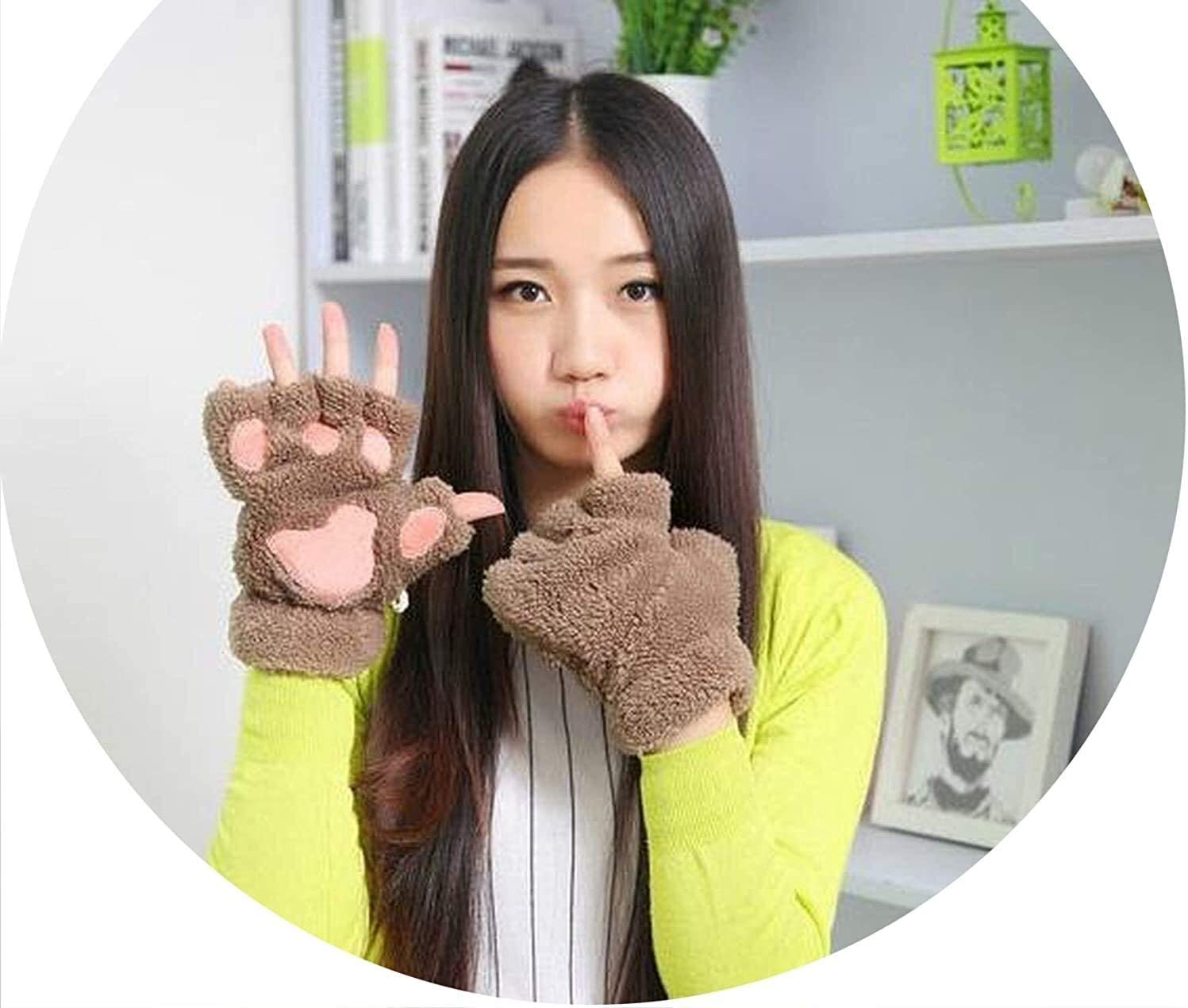 Samantha Warm Gloves Gloves Plush Paw Claw Glove Novelty Halloween Spandex Soft Patchwork Toweling Women (Color : SA085 Khaki, Size : One Size)