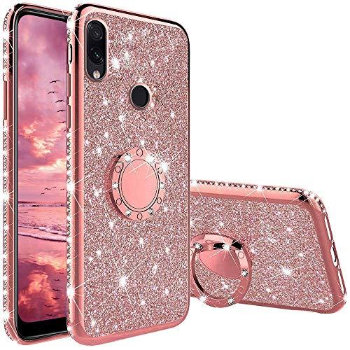 TVVT Glitter Crystal Funda para Xiaomi Redmi Note 7, Glitter Rhinestone Bling Carcasa Soporte Magnético de 360 Grados Ultrafino Suave Silicona Brillante Rhinestone - Rosa