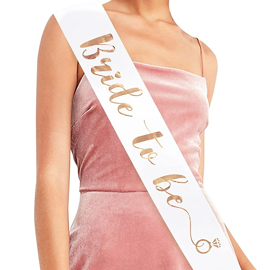 Bride to Be Sash - Bridal Shower Gift Bridal Sash Bachelorette Sash Wedding Sash Bride Accessories & Gifts (White with Rose Gold Lettering)