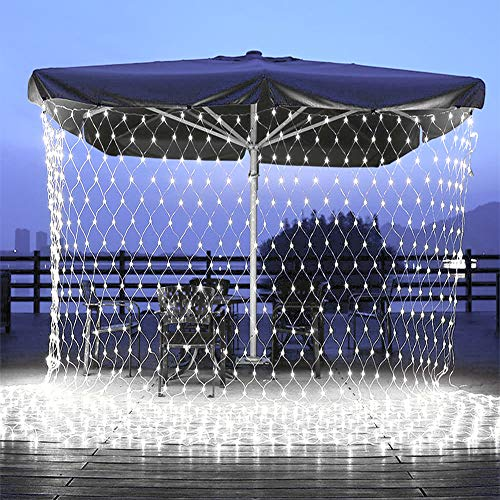 Christmas Net Lights, Connectable 11.5ft x 5ft 360 LED 8 Modes Low Voltage Mesh Fairy String Lights, Net String Christmas Lights for Garden, Bushes, Wedding, Xmas Tree Decorations (White)