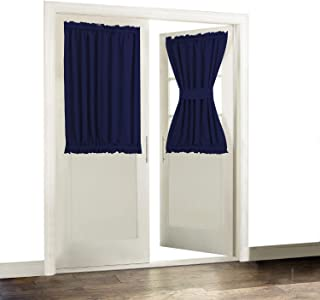 Aquazolax Thermal Insualted French Door Curtain Drapes - Readymade Solid Blackout Glass Door Side Panels 54x40 Inches Privacy with Tiebacks - 1 Piece, Navy Blue