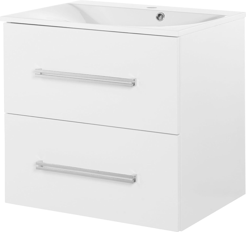 FACKELMANN Waschtischunterschrank Como Badschrank mit Soft-Close-System Mae (B x H x T)  ca. 60 x 58 x 49 cm Mbel für das WC oder Badezimmer Korpus  Wei Front  Wei Breite 60 cm
