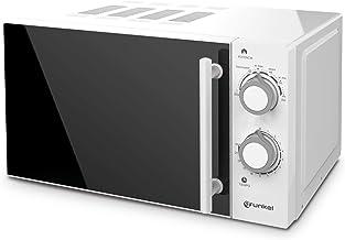 Grunkel - Microondas blanco de 20 litros de capacidad y 700W. 6 niveles de potencia, función descongelación y temporizador hasta 30 minutos. Fácil apertura con tirador. Modelo MW-20SF
