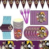 Accesorio de Decoración de Fiesta de Cumpleaño HANEL-62pcs Harry Potter Vajilla Contiene Platos Tazas Manteles Servilletas Tenedores banderín para Niños Niñas Decoración de Fiesta