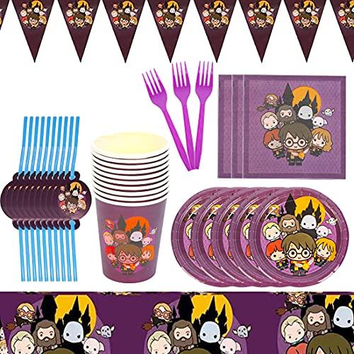 Harry Potter Forniture per Feste Set HANEL-62 Pezzi Magical Wizard Set di stoviglie per Feste Incluse Piatti Tazze Tovaglioli Tovaglie Forchette Cappelli Tema Super Mario Bambini Feste di Compleanno