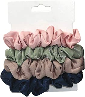 Perfeclan 4Pcs Silk Satin Hair Scrunchies Set Colorful Hair Accessories Ropes Assorted - Type A, 7CM