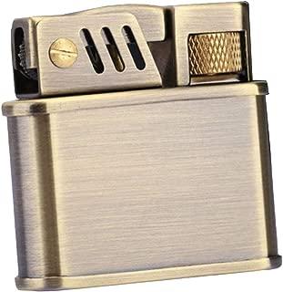 smallwoodi Cigarette Lighter,Vintage Windproof Cigarette Kerosene Flint Petrol Gasoline Refillable Lighter Brass Kerosene Windproof Lighter Rotating Wheel Winter Flower Copper Shell