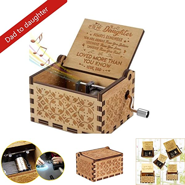 Babyyon Wooden Music Box Handmade Classical Music Box Hand Operated Hand Crank Music Box For Mothers Day Or Birthday Gift For Your Daughter And Son
