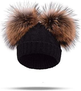 Hat Women Winter Caps Real Mink Fur Pompom Knitted Wool Cotton Hats Two Pom Poms Skullies Beanies Bonnet Girls Female