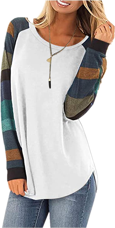 FABIURT Sweatshirts for Women, Womens Color Block Stripe Print Long Sleeve Pullover Loose Fit Top Crewneck Tunic Blouses