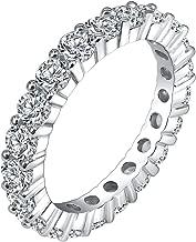 Milacolato 3 St/ücke AAA CZ Wei/ßes Gold /Überzogen Smaragd Cut Eternity Band Ring Hochzeit Ring Frauen M/änner Partei Schmuck