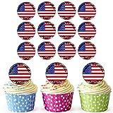 Amerikanische Flagge 24 Personalisierte Vorgeschnittene Kreise - Essbare Cupcake Aufleger / Geburtstagskuchen Dekorationen
