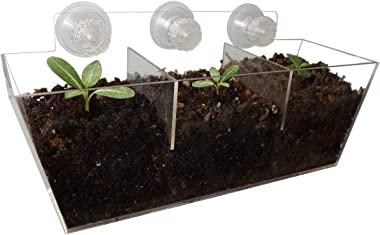NIUXX Window Boxes with Removable Shelf, Kitchen Herb Pot with Strong Suction Cups, Floating Shelf for Plant Holder
