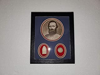 Civil WAR Collectible 2 Authentic DUG Bullets in A Riker Display CASE with Confederate General Thomas Jonathan Jackson Picture