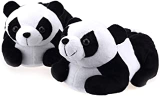 Onmygogo Indoor Fuzzy Winter Animal Panda and Cow Plush Slippers for Adult Women Men Boys Girls Kids