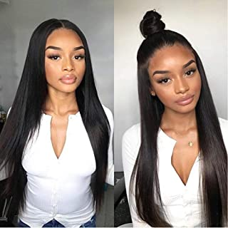 Allove Hair Glueless 360 Lace Front Wigs Human Hair with Baby Hair Pre Plucked 150% Density Straight Human Hair 360 Lace Wigs for Black Women (18inch)