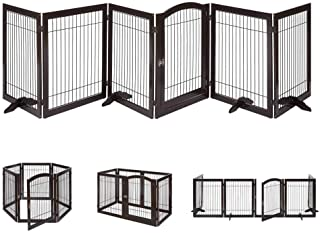 unipaws Pet Playpen with Wooden Construction and Wire, 6 Panels Freestanding Walk Through Dog Gate with 4 Support Feet, Foldable Stairs Barrier Pet Exercise Pen for Dogs Cats Pets, Espresso