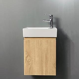 Meuble Lave-Mains Moderne à Suspendre avec lavabo, Meuble de Rangement avec Une Porte et 2 étagères,Lave-Mains Armoire de ...