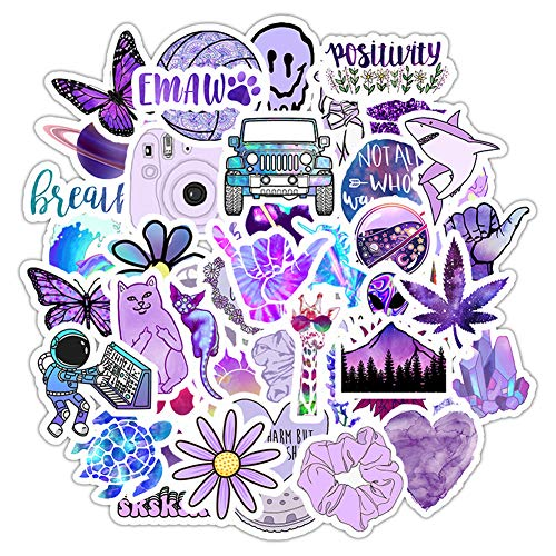 Vsco Girls Stickers for Water Bottles(50Pack), Purple Waterproof Stickers for Hydro Flask,Laptop,Phone,Travel, Photo Sharing, Outdoor - Cute, Trendy, Aesthetic Vinyl Stickers for Teen Girls, Kids