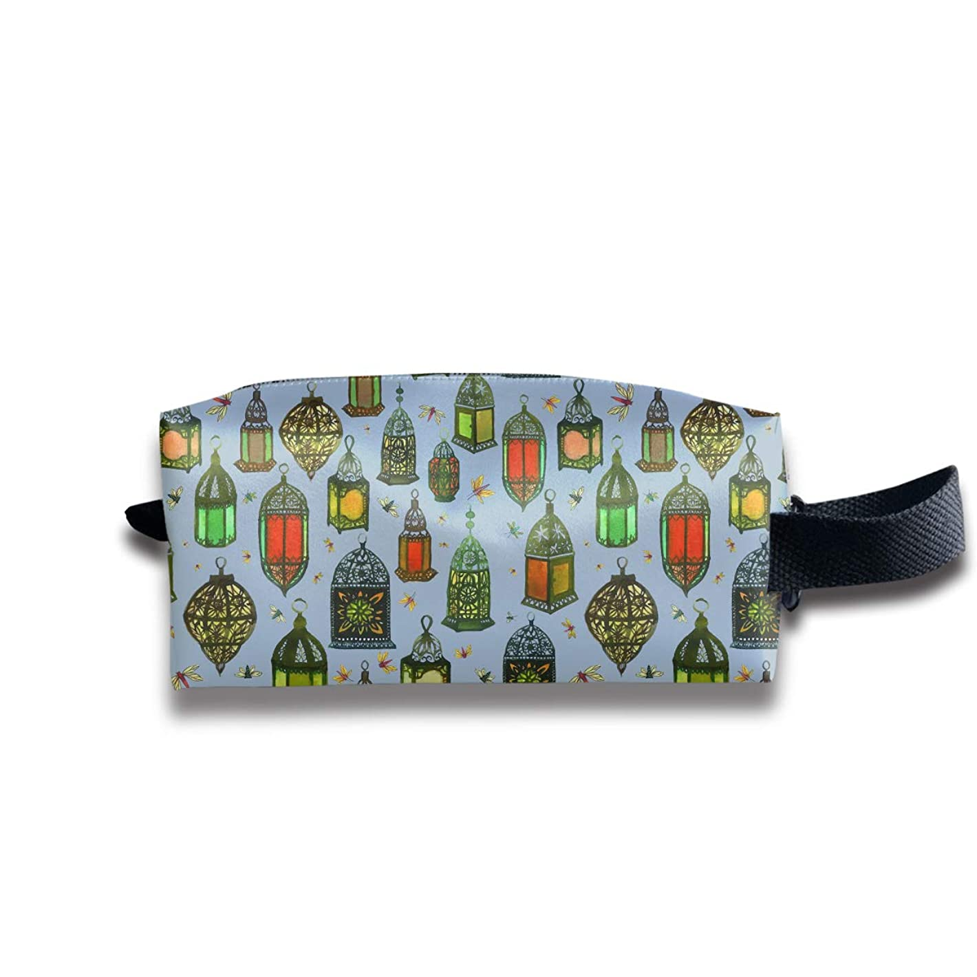 コイルラオス人ポルティコ携帯用化粧ポーチ 旅行コスメ収納ケース トイレタリーバッグ ランタンパターン メイクポーチ ハンドバッグ 化粧品 鍵 小物入れ 軽量