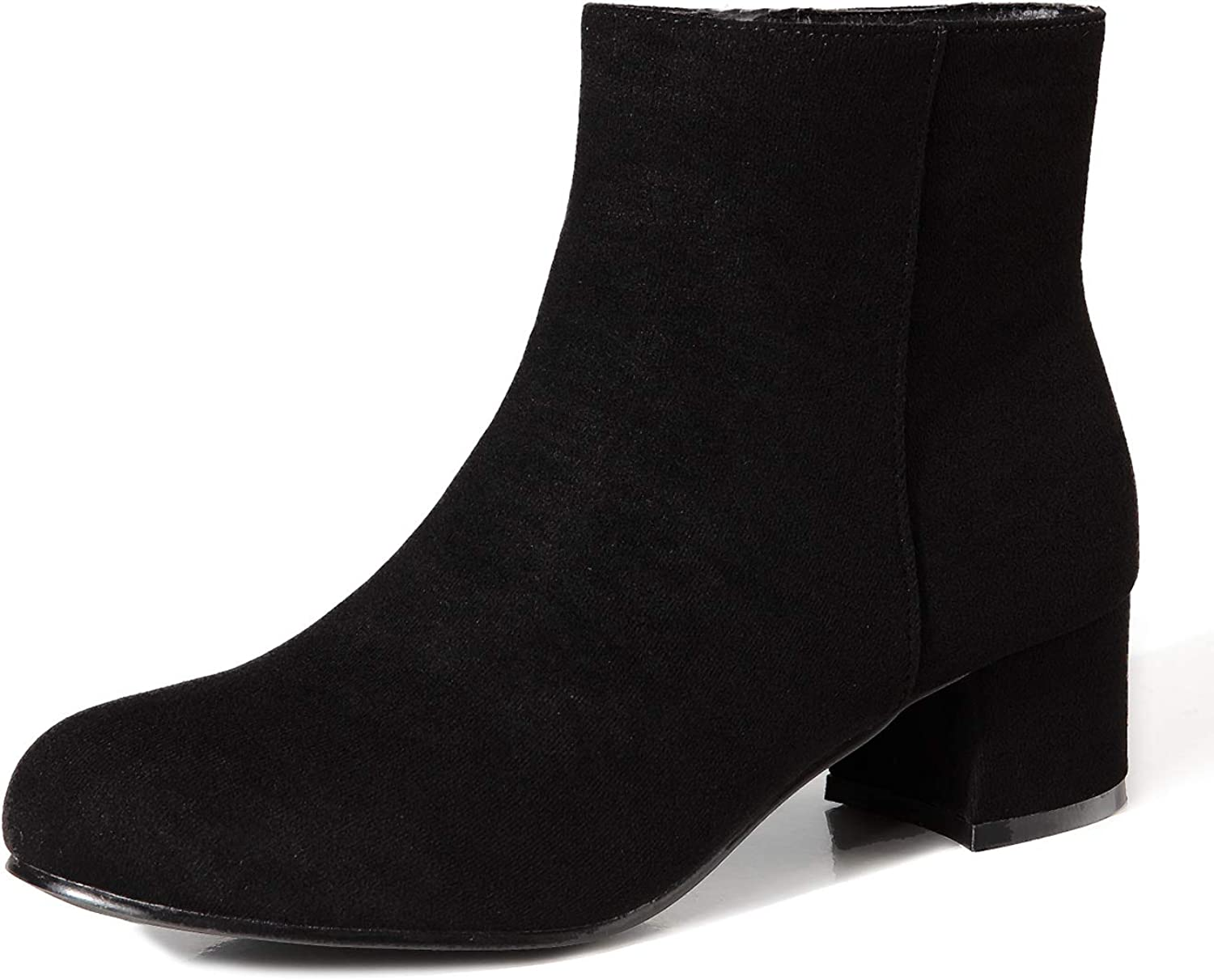 CAMSSOO Women's Ankle Boots Round Toe Zipper Mid Heels Dress Boots for Women