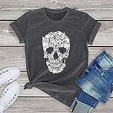 A-HXTM Divertido Horror Skull Cat Unisex Camiseta Mujeres Manga Corta Hombres Terror Cómoda Camiseta Algodón Manta Aplicar a la Escuela Fitness Vida Diaria Etc-Gris_Foncé_M_China