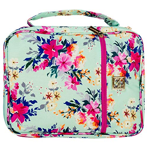 Mary Square Lexington Floral Pattern 8 x 10.5 Inch Polyester Zippered Bible Cover Case with Handle