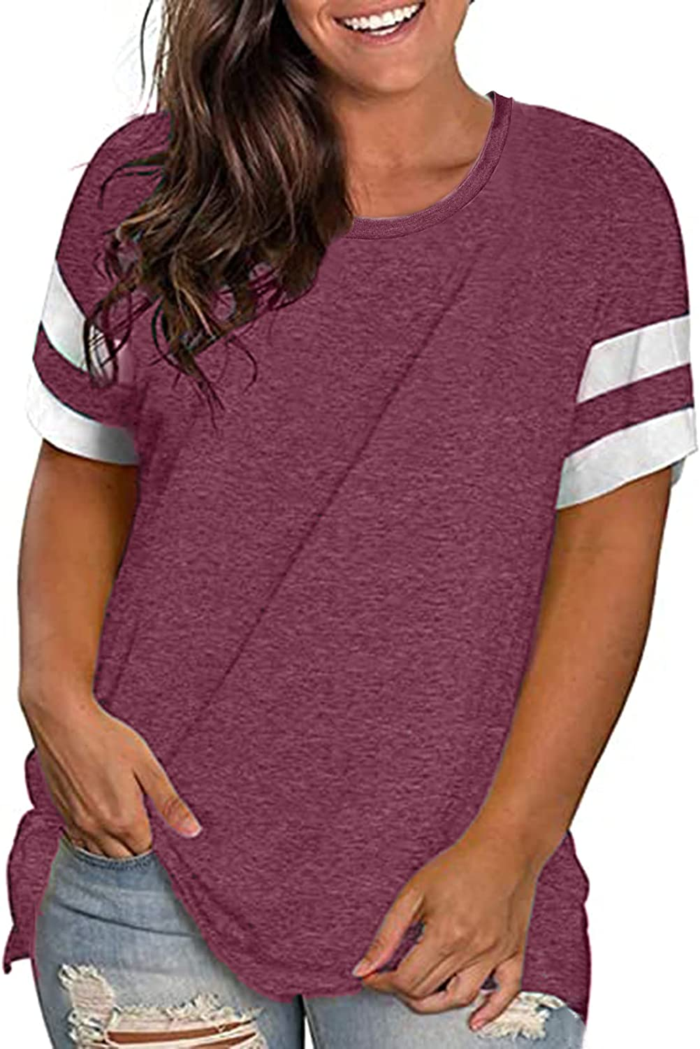 Womens Plus-Size Summer Tops Crew Neck T Shirts Striped Short Sleeve Tunics Causal Tees Blouses