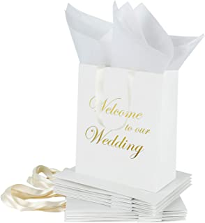 Loveinside Medium Kraft Gift Bags-Welcome to Our Wedding Gold Foil White Paper Gift Bag with Tissue Paper - Wedding,Party Favor,Bridesmaids Gift-12Pack -8
