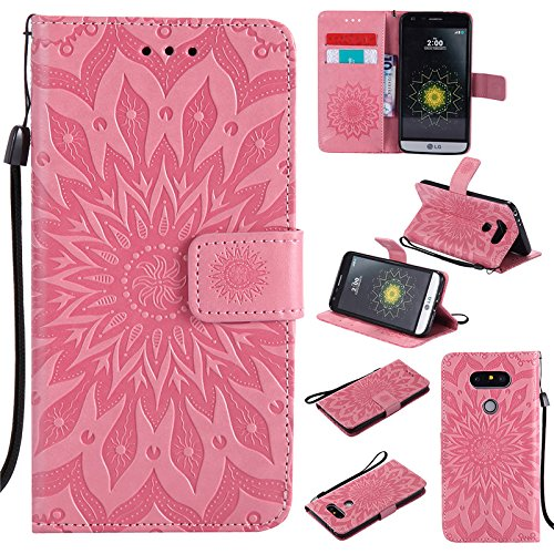 Kelman Phone Cases for LG G5 (5.3') Case Cover 3D Sun Flower Fashion PU Leather,Card Slot,Built Stand,Magnetic Closure,Wallet Function - [Pink]