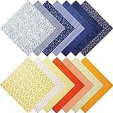 14 Patchwork Paquete de Tela Patchwork de Costura de Algodón Paquetes de Acolchados Cuadrados Tela de Patrón Diferente para Suministros de Trabajo de Arte Coser(Azul Marino, Amarillo, 50 x 50 cm)