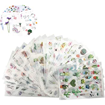 6 Sheets Assorted Decorative Stickers Label for DIY Journal Diary Planner #1