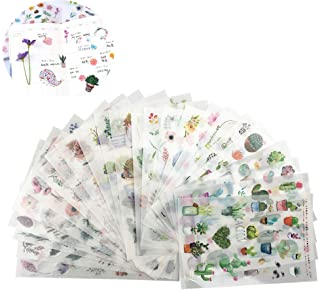 Plant Stickers 24 Sheets(520pcs) Green Cute Cactus Plant Decorative Stickers for Stationery Stick Label DIY Diary Scrapboo...
