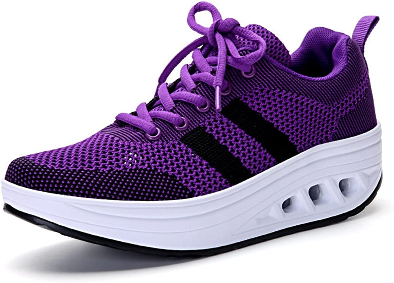 CYBLING Fashion Women Athletic Exercise Breathable shoes Comfort Sport Walking Wedge Sneakers