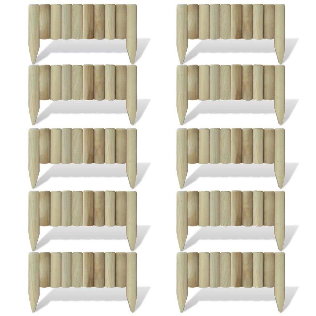 FZYHFA Set 10 Piezas Bordura de Madera para El Césped, 60 cm,Borduras para Jardin: Amazon.es: Bricolaje y herramientas
