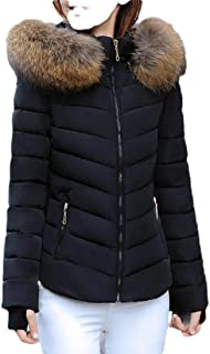 Macondoo Womens Basic Cotton-Padded Outwear Puffer Quilted Hoodie Down Jacket