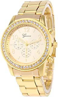 Everpert Rhinestones Women Quartz Mini Dial Stainless Steel Analog Wristwatch/Gold
