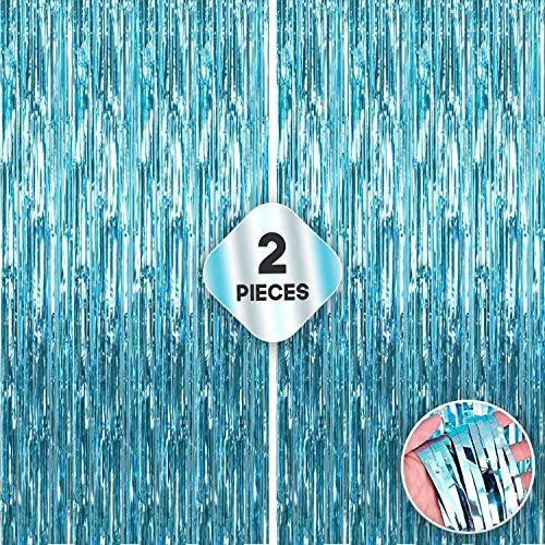 XtraLarge Blue Foil Fringe Curtains Party Decorations - 6.4x10 Feet, 2Pcs Tiffany Blue Party Decorations | Metallic Light Blue Foil Fringe Curtain, Tinsel Blue Streamer Backdrop Ocean Theme Birthday
